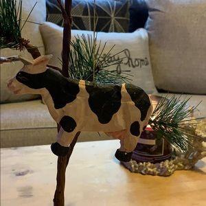 "5"" long cow Christmas tree wooden ornament Vtg"